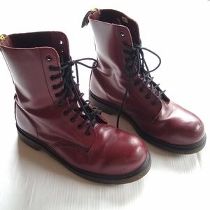 DR MARTENS • red leather tall Lace-up boots 1919
